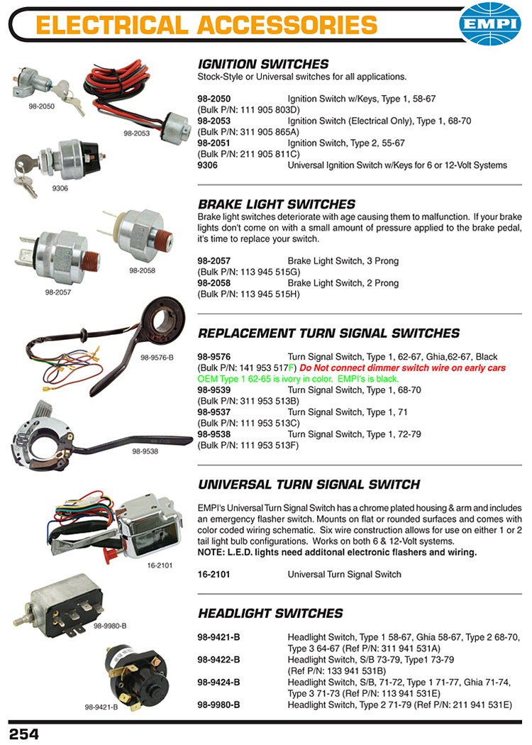 PAGE254 2T ignition switches, brakes light switches, turnsignal switches 1970 vw bug headlight switch wiring diagram at bakdesigns.co