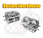 40X35 performance dual port cylinder heads 041 VW Volkswagen 041101355  12 mm 3/4 reach spark plug hole for better cooling and heat dissipation. Single high rev springs for more rpm range. 40X35 performance dual port cylinder heads for VW Volkswagen 044