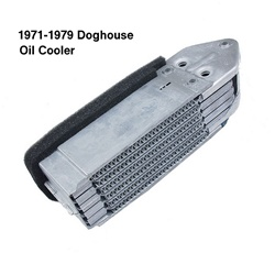 113117021 New stock motor and engine oil coolers and stands for air cooled for VW Volkswagen Bug and Super Beetle. Late model offset doghouse oil coolers combined with late model wider fans were designed by Volkswagen engineers to ensure maximum cooling e