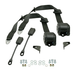 3851, 3 point retractable seat belts for VW Volkswagen. Probably one of the worst things that can happen to a nice paint job is when a seat belt latch chips the paint. Retractable seat belts reduce the chances of loose or unlatched belt latches wavering o