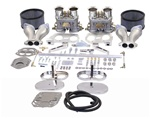 47-7317 Dual 40mm HPMX Carburetor kits for VW Volkswagen K1317 43-8317 43-8319 43-7319 with hex bar linkage with steel ball end, heim rod ends, dual port offset aluminum intake manifolds, steel linkage that won't flex, chrome air filter with gauze