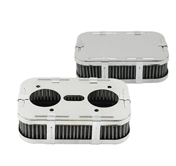 "Weber IDF, DFV, DFAV, DFEV, Dellorto DRLA and Empi HPMX carburetor chrome gauze air cleaners for VW Volkswagen. CHROME AIR CLEANERS Featuring Show Quality heavy duty Chrome-plated steel, these Air Cleaners are offered in 7"" x 4 1/2"" Oval and 6 3/4"" x 4 1/"