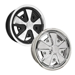 9677, 9678, 9679, 9680, 911 Porsche style Fuchs alloy wheels for VW Volkswagen were originally designed for Porsche 911's in the late 60's. Original early Porsche alloy wheels came in 4.5 inch wide but were later upgraded to 5.5 inch. Chromed and polished