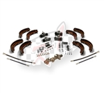 Replacement brake kit for 1968 Standard Beetle VW Volkswagen with swing axle rear suspension. Includes TRW master cylinder,  4 wheel cylinders, 4 German brake hoses , front and rear brake shoes, front and rear brake hardware kits.