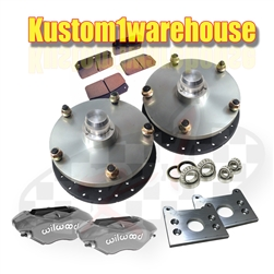 Made in USA Bolt on Type 2 VW Volkswagen Bus billet front disc brake  conversion kit with 4 piston Wilwood calipers