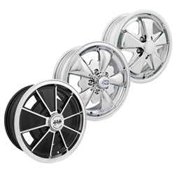 BRM Speedwell EMPI alloy wheels for VW Volkswagen 0726-5524, 0729-5524, 0722-5524, 9673, 9561, Brm's, 5 spoke Empi's and Porsche style 911 alloys with VW Volkswagen Bus 5 on 112 lug pattern. The are made for 1971-1979 late model VW Volkswagen Bus. All whe