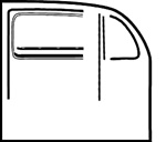 Door Seal Kit 52-64 Bug for VW Volkswagen Bug, Door kit includes seals for (2) both doors left and right, door seals, vent seals, long felts, short felts, outer scrapers, inner scrapers, vent flap seals.