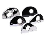 Replacement black and chromed, engine fan shrouds for VW Volkswagen. Angled for remote coolers, for early or late model doghouse oil coolers, with or without heater. Replacement fan shrouds, cylinder tins, breast plates and firewall tins can get your engi