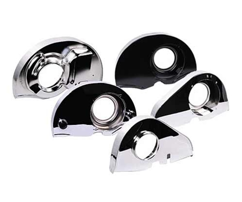 Replacement black and chromed, engine fan shrouds for VW