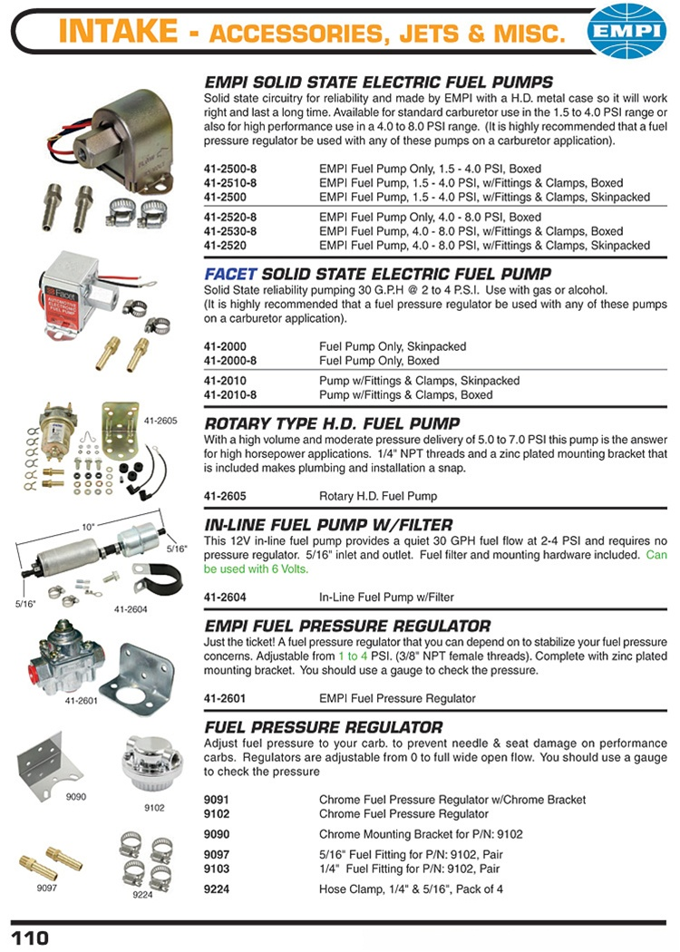 Empi and Facet solid state and rotary fuel pumps, fuel