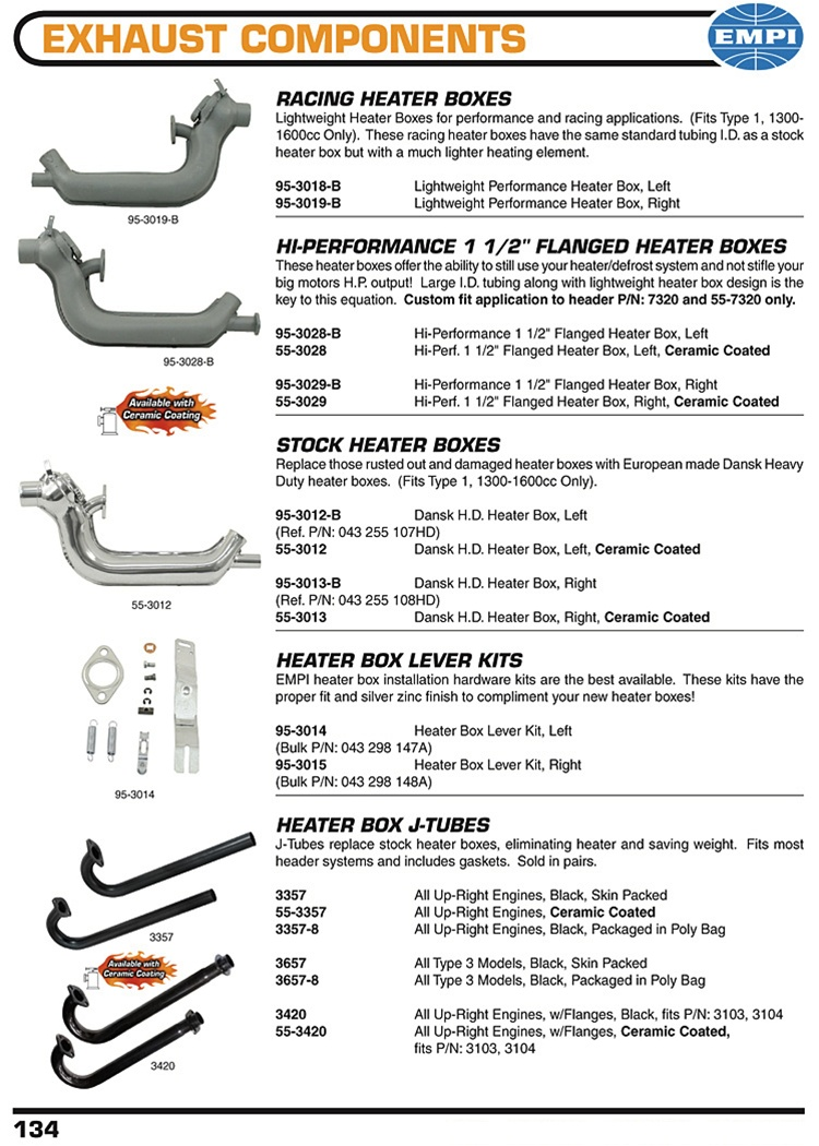 Racing flanged and stock heater boxes, lever kits and J tubes for VW  Volkswagen RACING HEATER BOXES Lightweight Heater Boxes for performance and  racing ...