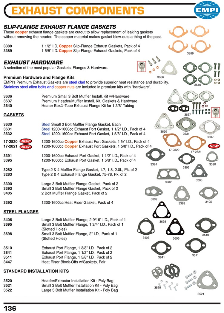 Exhaust gaskets, copper, metal, paper, steel exhaust flanges for VW