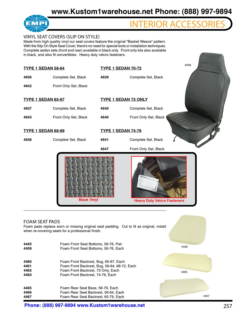 EACH 4459 VW BUG TYPE 1 56-76 FOAM FRONT SEAT BOTTOM