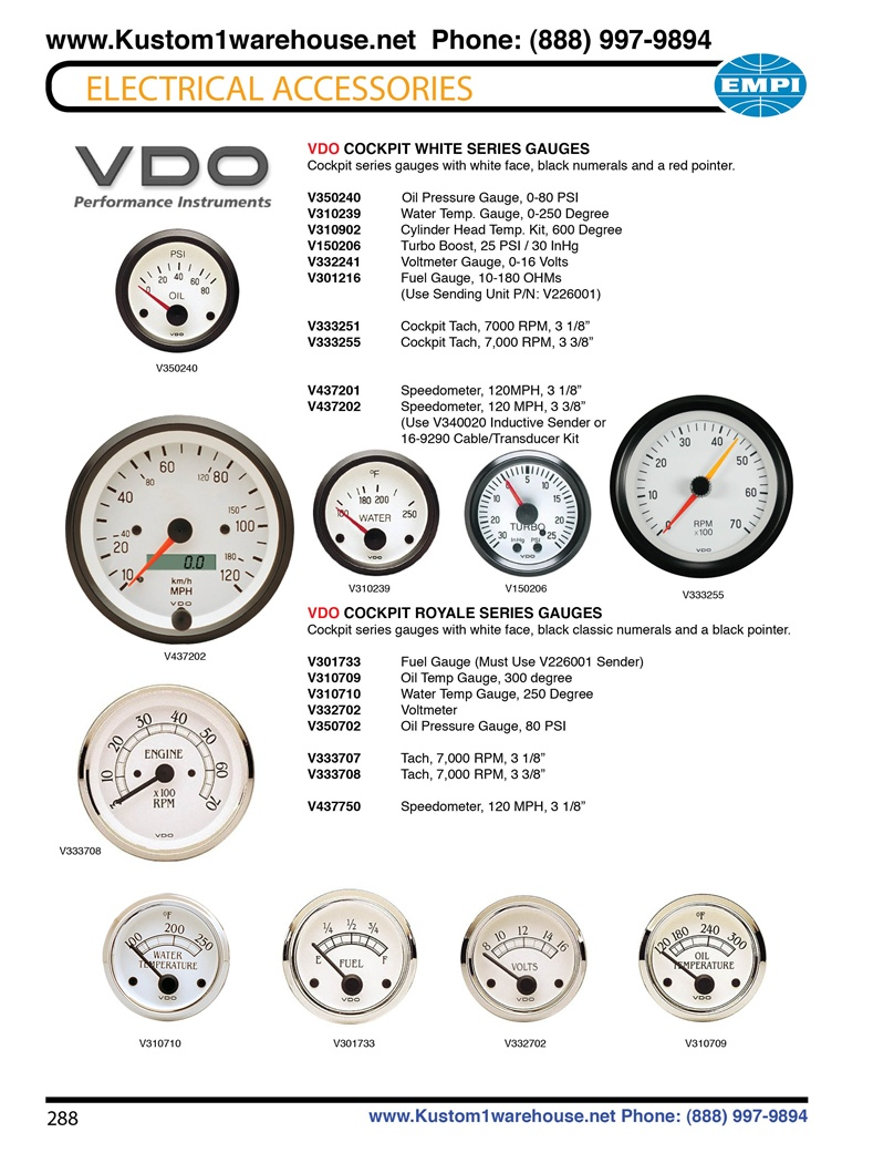 Vdo Cockpit White And Royale Series Gauges  Oil Pressure