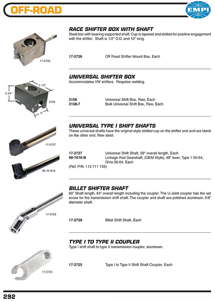 Shifter boxes, rods, U joint shafts, bus transmission