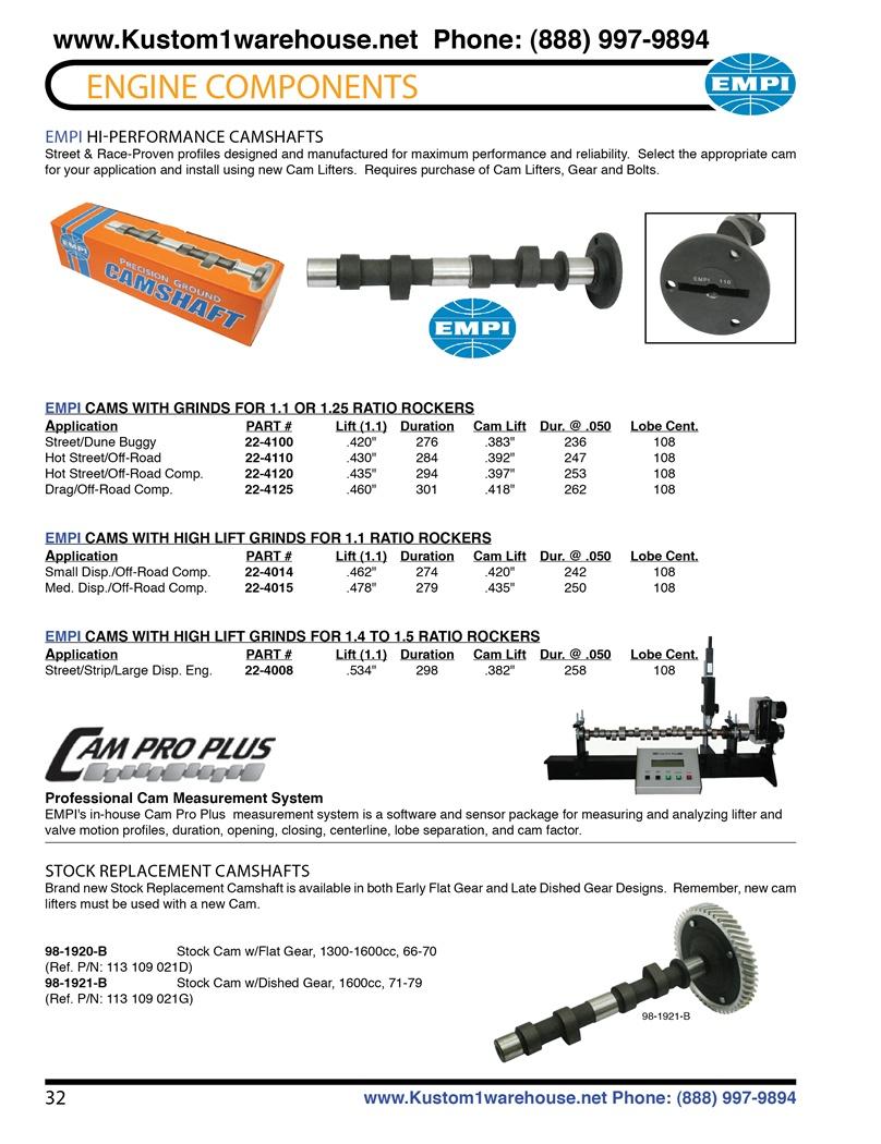 "EMPI VW BUG 462/"" LIFT PERFORMANCE CAMSHAFT FOR 1.1 RATIO ROCKERS 22-4014"