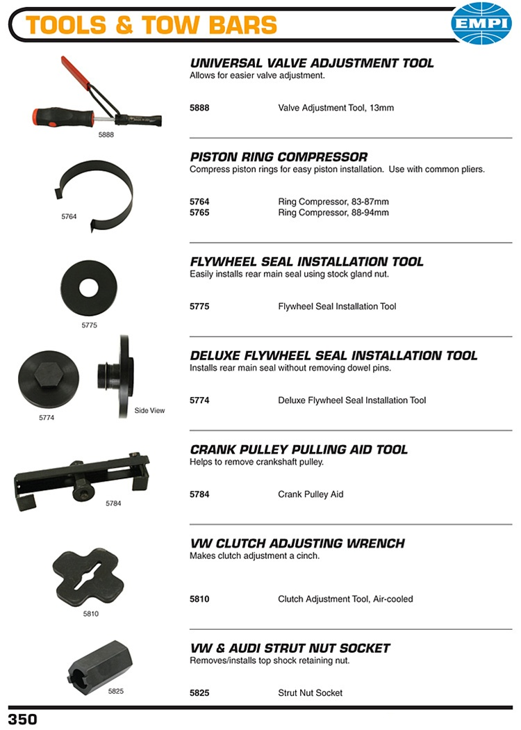 Valve adjustment tool, piston ring compressor, flywheel seal
