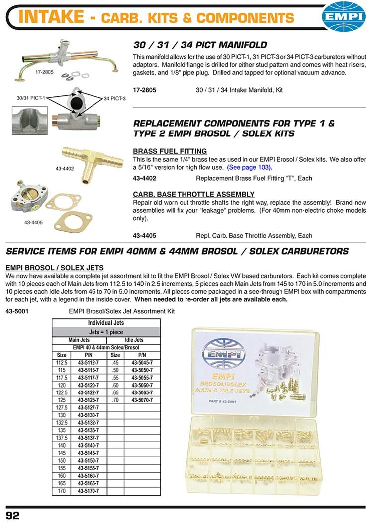 Empi 43-5050-7 Idle Jet .50 Empi Solex Or Solex//Brosol Carburetors
