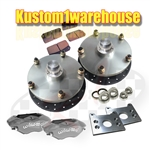 This is a made in USA new Bus billet front disc brake kit with Wilwood 4 piston calipers, 5 on 205 VW Volkswagen lug bolt patterns or Porsche 5 on 130mm for VW Volkswagen Bus, Camper, single cab, double cab, transporter 1955-1964, 1964-1967, 1968-1970. Th