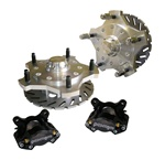 Made in USA billet front disc brakes. Front brake kits are available with 2 or 4 piston calipers for combo or 2 inch hollow spindles. This kit includes calipers with pads, weld on caliper mounting brackets, wheel bearings, grease seals, billet dust caps,