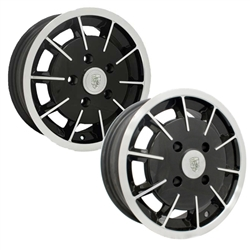 Painted and chromed Porsche style 2 liter 914 alloy wheels Made by Empi for VW Volkswagen.0739-5530, 9681, with 4 9/16 inch back spacing.This wheel is 4 on 130 late VW lug pattern. They are only available in 15 inch x 5.5 inch wide. These wheels require s
