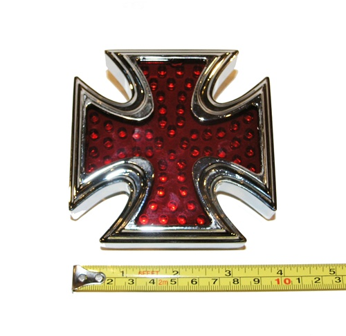 this is an chromed led iron cross light  it is 4 inches