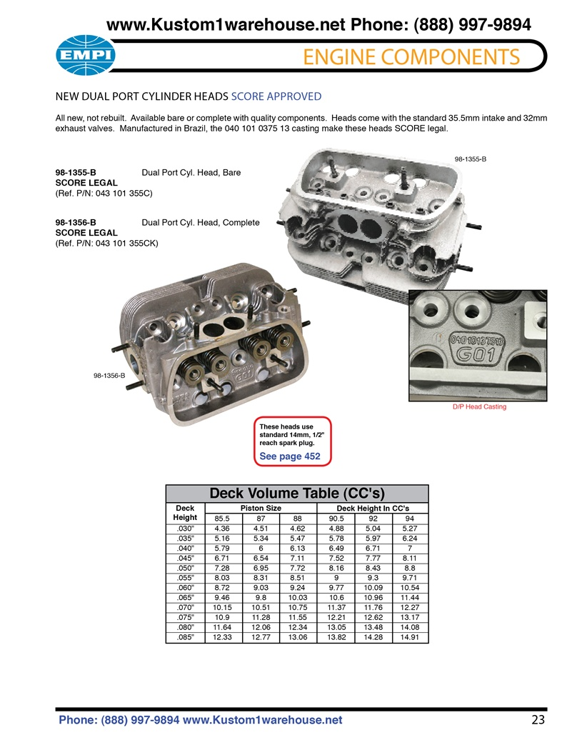 New stock style Score approved 040 dual port cylinder heads with