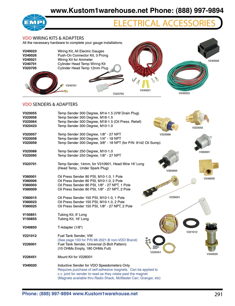 VDO wiring kits, oil and cylinder head temperature, oil pressure, fuel sending  units and T adapters for VW Volkswagen. VDO WIRING KITS & ADAPTERS All the  ...