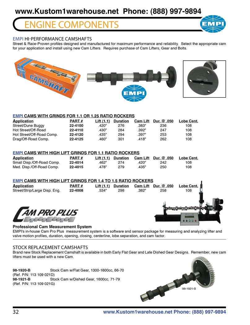Engle high performance aftermarket racing camshafts for