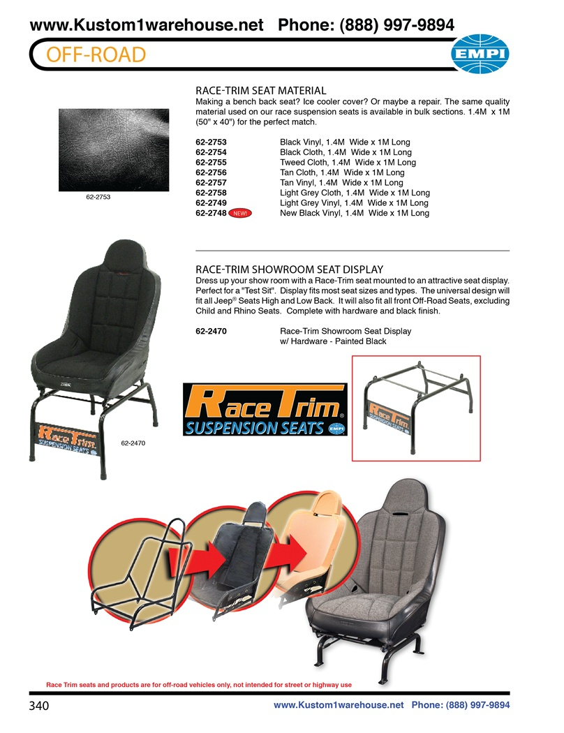 Empi race trim performance offroad racing suspension seat material for autos, trucks, boats and VW Volkswagen and showroom seat displays.prp mastercraft beard redart twisted stitch cheap procomp recaro rancho aftermarket bds sparco Race-Trim Seat Material