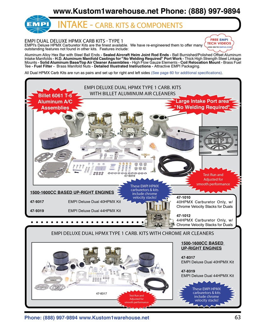 Empi deluxe HPMX dual 40mm and 44mm Type 1 carburetor kits