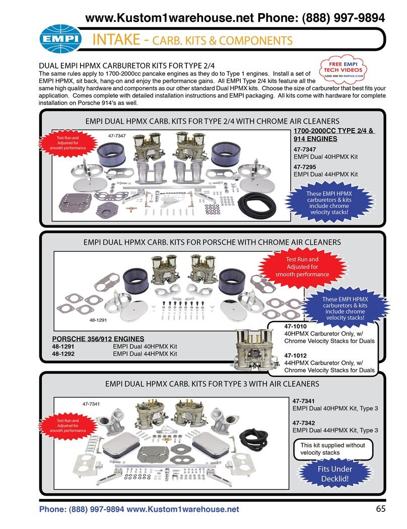 Empi dual hpmx 40mm and 44mm weber idf carburetors kits with chrome