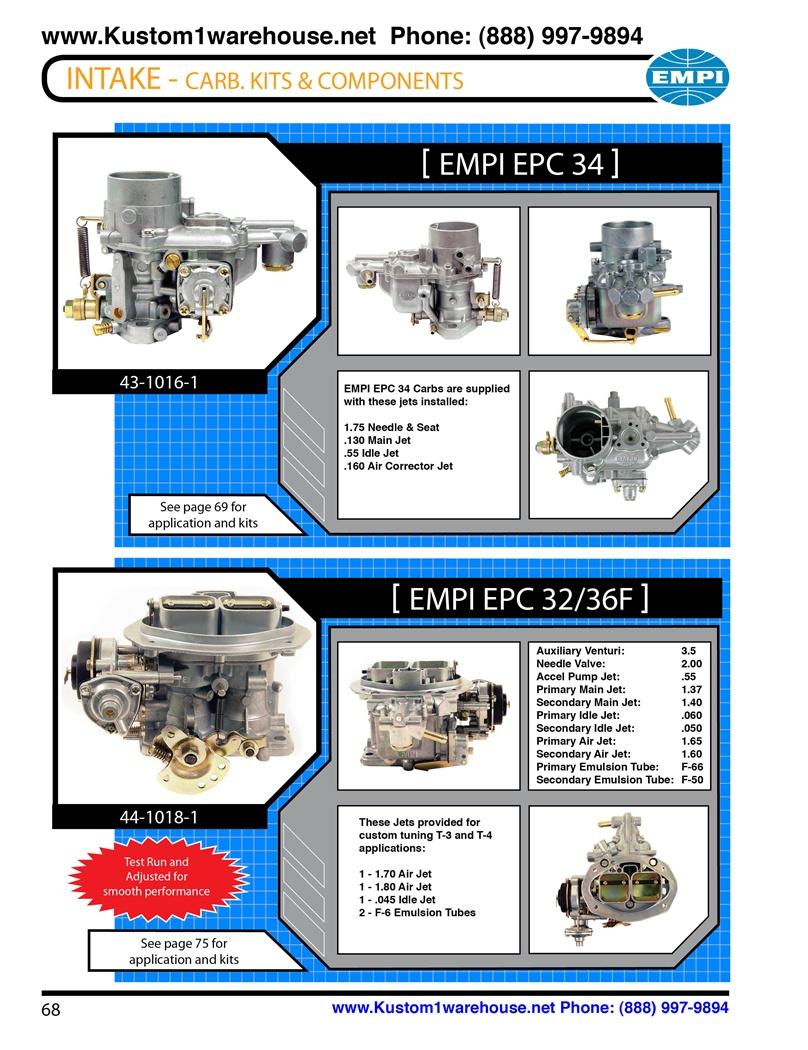 Empi dual 34mm epc ict and 32/36f single progressive