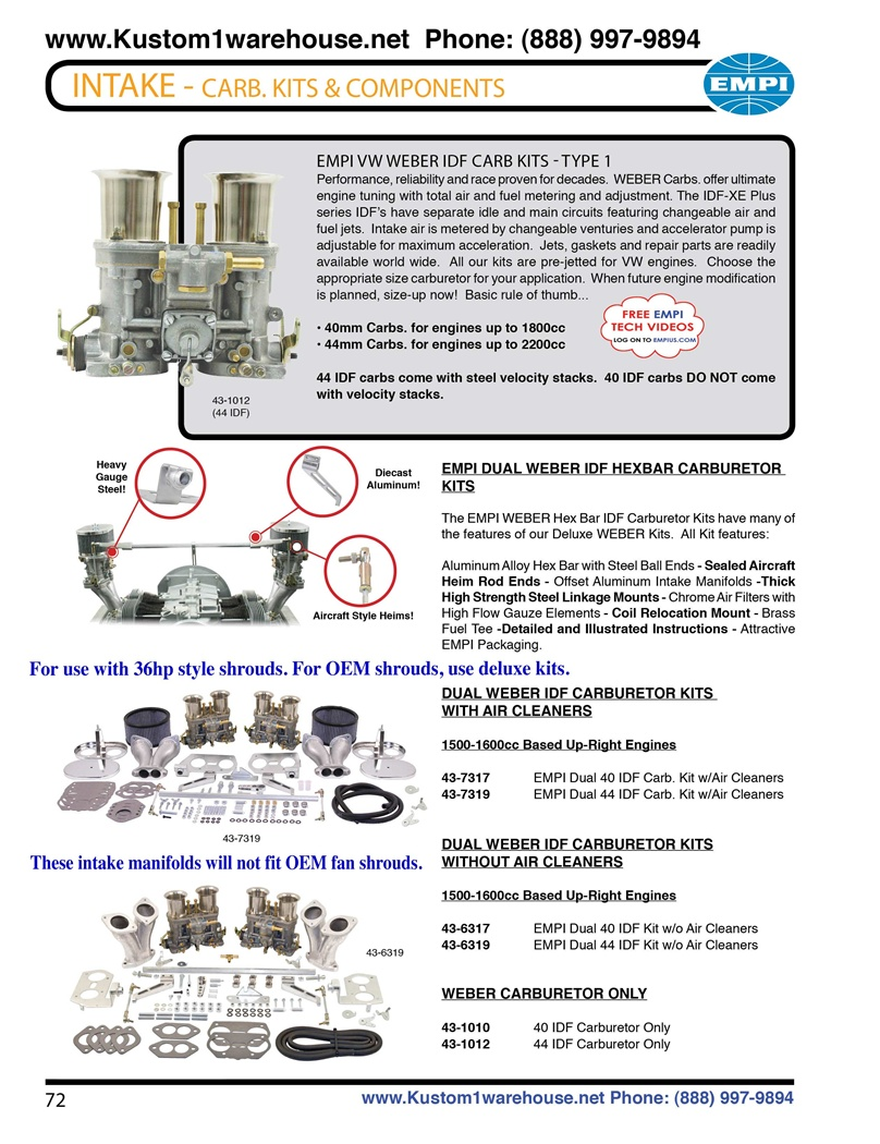 Weber 40mm and 44mm idf dual carburetor kits with chrome gauze air filters,  cross hex bar linkage, velocity stacks, aluminum manifolds for bus, buggy,  ...