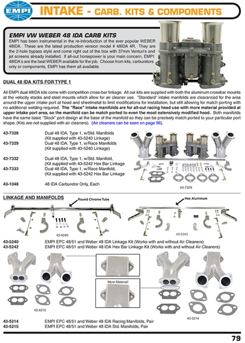 Empi Weber 48 IDA carburetor kits, linkage, manifolds and carbs for
