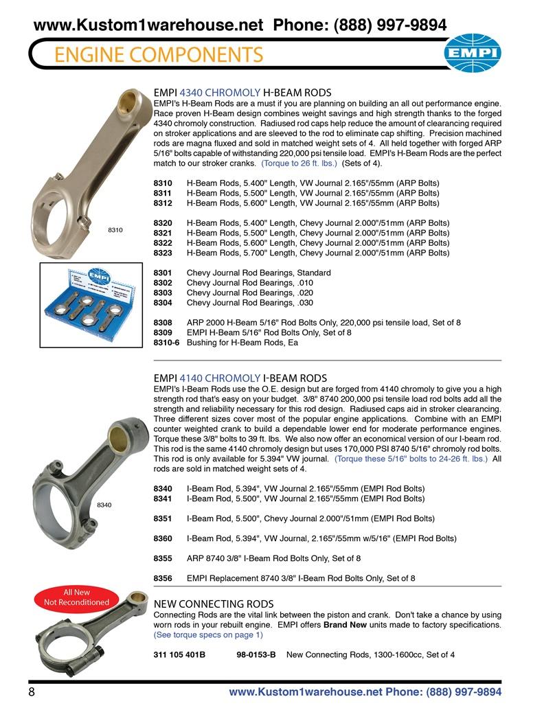 Chromoly H beam and I beam engine crankshaft connecting rods