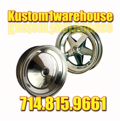 Made in USA CMS (Custom Metal Spinning) spindle mount wheels for VW Volkswagen will bolt on to you front end spindle without any brake drum or hub. Spindle mount wheels are commonly used on sand cars and light weight buggy applications when front brakes a