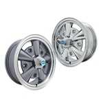 Chrome and painted 5 rib Empi alloy wheels with screw on caps for VW Volkswagen 5 on 205 bolt pattern (ET or Crestline style wheel). The superb quality reproduction wide 5 rib alloy wheel for VW Volkswagen from Empi that looks like the classic Crestline o