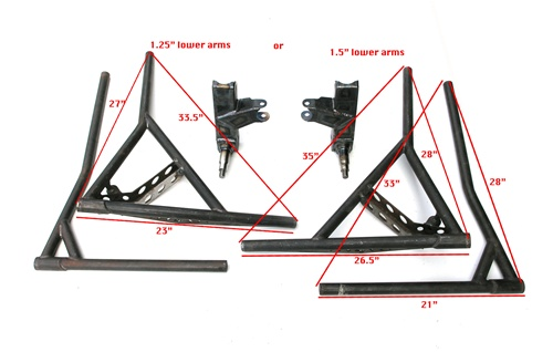 All chromoly A arm spindles with combo stub and upper and ...
