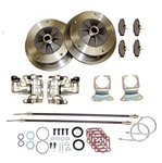 22-2905, 22-2906, 22-2907, Rear disc brake kits for VW Volkswagen bug, super beetle, karmann ghia and thing are available in 5x205 wide 5 wheel pattern with emergency brake. For off road, play cars and street vehicles where emergency brake provisions are