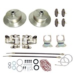 Rear disc brake conversion kit with emergency parking brake with 4 lug VW, 5 lug Porsche, 5 bolt Chevy or blank wheel patterns for VW Volkswagen 4x130, 5x130  and Chevy 22-2865, 22-2912, 22-2918, 22-2870, 22-2913,22-2919, 22-2871,22-2914, 22-2920 Rear dis