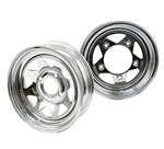 Steel spoke wheels for VW Volkswagen Bugs, Bajas Buggies 10-1008, 10-1009, 10-1010, 10-1011, 10-1012, 10-1020, 10-1021, 10-1022, 10-1023, 10-1024 These wheels are available 2 different lug bolt patterns. 4 on 130 and 5 on 205