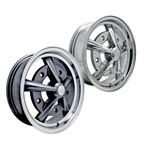 Chrome or painted with polished edge Empi Raider alloy wheels with chrome press in center caps for VW Volkswagen 5 on 205 bolt pattern. Raders were originally manufactured by the Wheel Corporation of America. They were sold through Empi and Sears & Roebuc