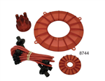 Colored engine trim kits for VW Volkswagen buggy, sandrails, bajas and sand cars motors. ENGINE TRIM KIT - COLORS This Kit includes Distributor Cap, Copper Core Spark Plug Wire Set, Finned Pulley Cover and Finned Backing Plate Cover. 8743 Engine Trim Kit,