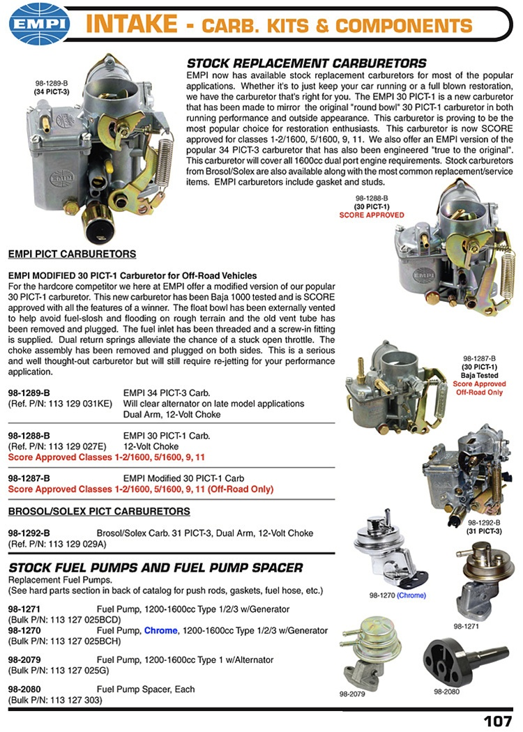 Stock Replacement Carburetors 34 Pict 3  Score Approved 30