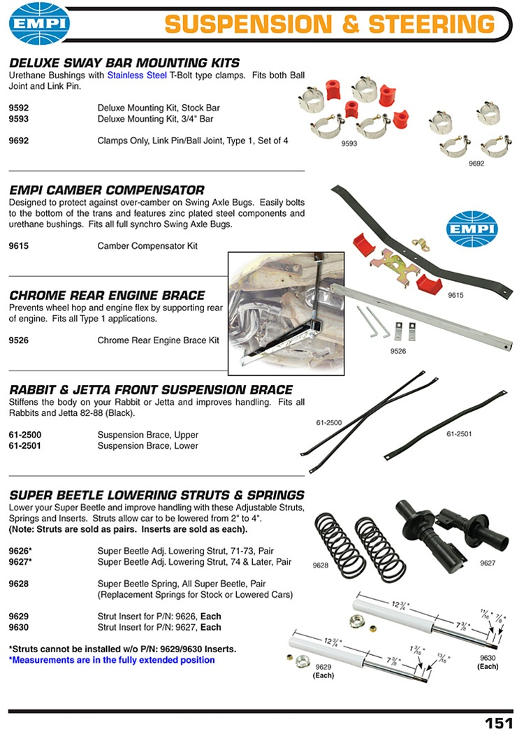 Suspension Steering Sway Bars Bushing Clamps Camber