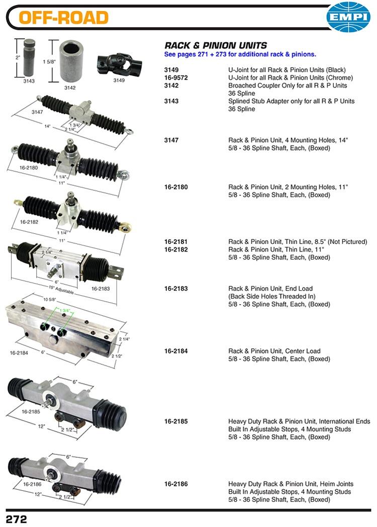 rack  pinions endload center pivot    heim  international tie rods ends  vw