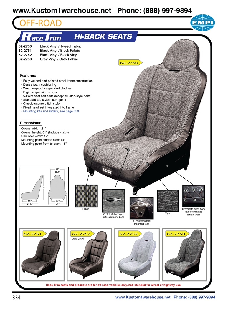 Jeep Seat Covers >> Empi race trim high back performance offroad racing suspension bucket seats black or grey vinyl ...