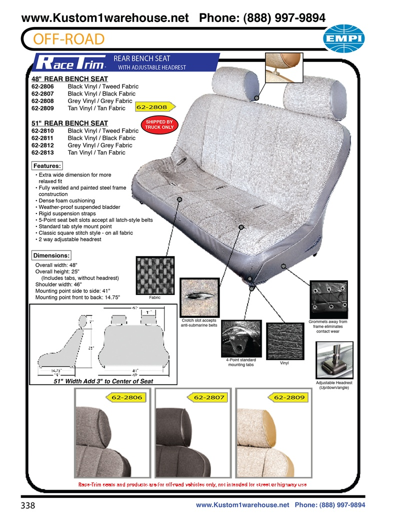 Empi Race Trim Rear Bench Performance Offroad Racing