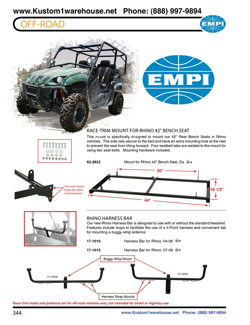 Empi Race Trim Performance Rear Bench Mount Offroad Racing